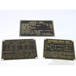 PLAQUES INSTRUCTIONS - WILLYS MB (IT)